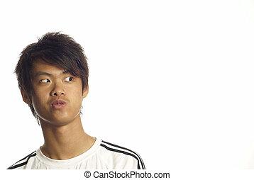 patrząc, asian, młody mężczyzna