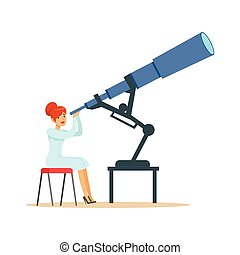 patrząc, astronom, kobieta, przez, teleskop