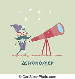 patrząc, astronom, przez, teleskop