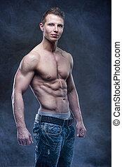 patrząc, bodybuilder, dobry, przedstawianie