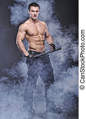 patrząc, bodybuilder, dobry, przedstawianie, policjant