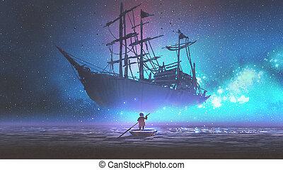patrząc, chłopiec, statek, łódka, nawigacja