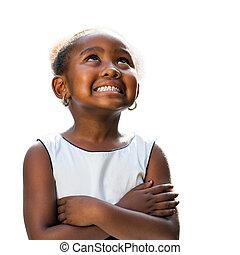 patrząc, do góry., dziewczyna, afrykanin