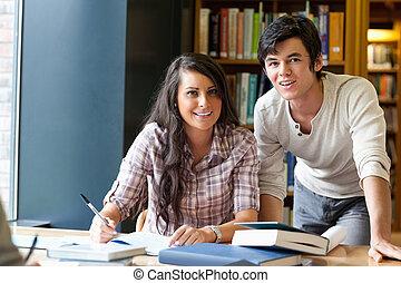 patrząc, dobry, studenci, przedstawianie