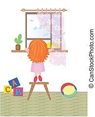 patrząc, dziewczyna, okno