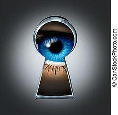 patrząc, dziurka od klucza, przez, oko