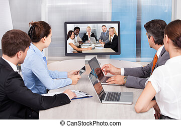 patrząc, ekran, komputer, businesspeople