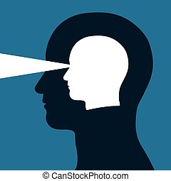patrząc, głowa, wewnątrz, inny, poza
