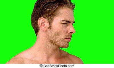 patrząc, gniewny, człowiek aparatu fotograficzny