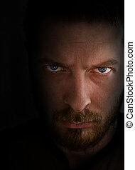 patrząc, gniewny, smutny, człowiek