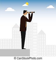 patrząc, graficzny, wykonawca, -, wizjonerski, lorneta, wektor, przez, biznesmen, albo
