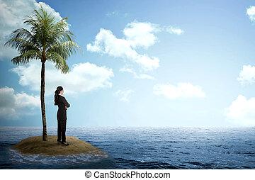 patrząc, horyzont, kobieta, asian handlowy