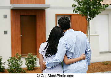 patrząc, ich, para, dom, nowy