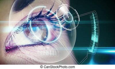 patrząc, interfejs, futurystyczny, oko