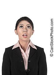 patrząc, kobieta, asian handlowy, do góry