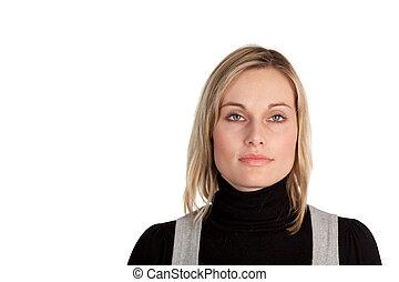 patrząc, kobieta handlowa, poważny
