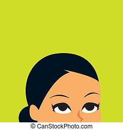 patrząc, kobieta, retro, ilustracja, do góry