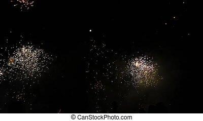 patrząc, nowy, fajerwerki, ludzie, rok
