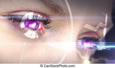 patrząc, oczy, holographic