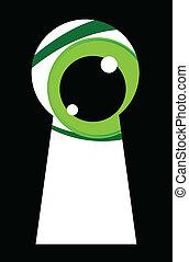 patrząc, oczy, zielony