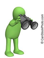 patrząc, osoba, marionetka, field-glass, przez, 3d