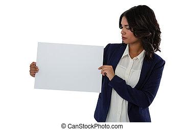 patrząc, plakat, kobieta interesu