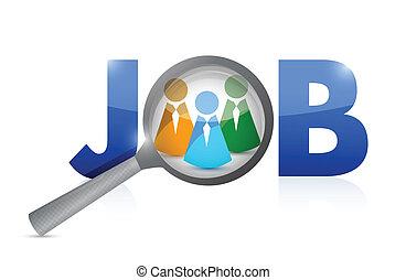 patrząc, praca, search., ilustracja, candidates.