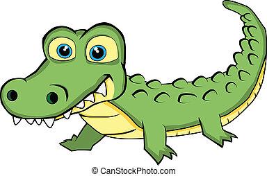 patrząc, sprytny, krokodyl