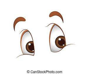 patrząc, sprytny, oczy, rysunek