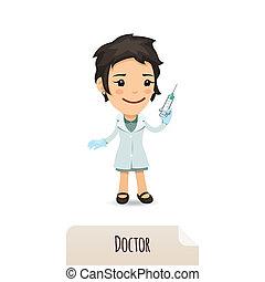 patrząc, szczepionka, doktor