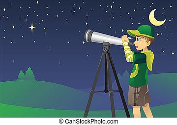 patrząc, teleskop, gwiazdy