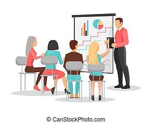 patrzeć, handlowy zaludniają, prezentacja, trening