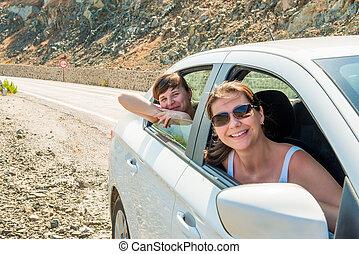 patrzeć, okna, wóz, młody, sympatia, poza