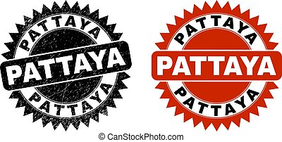 Black rosette PATTAYA seal stamp. Flat vector scratched watermark with PATTAYA message inside sharp rosette, and original clean source. Imprint with scratched surface.