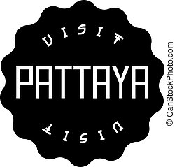 PATTAYA black stamp on white background. Stamps and stickers series.