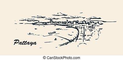 Pattaya city skyline hand drawn sketch ilustration.
