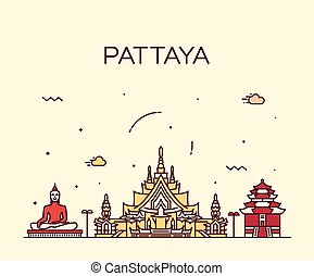 pattaya, modny, wektor, ilustracja, linearny, styl