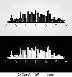 Pattaya skyline and landmarks silhouette, black and white design, vector illustration.