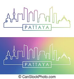 Pattaya skyline. Colorful linear style. Editable vector file.