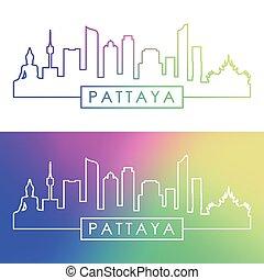 pattaya, skyline., linear, style., bunte
