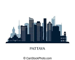 Pattaya skyline, monochrome silhouette. Vector illustration.