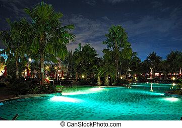pattaya, slå samman, natt, thailand, belysning, simning