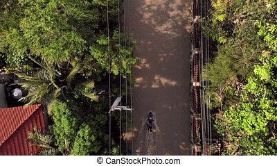 Pattaya, Thailand - April 02, 2019: Top view of flooded streets and roads after tropical rain.