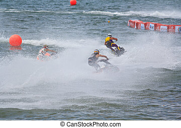 PATTAYA, THAILAND - DECEMBER 9: Competitors at Jet Ski...
