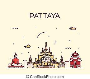 Pattaya Trendy vector illustration linear style