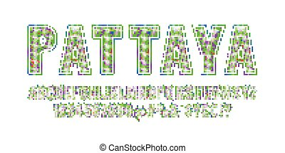 Pattaya. Vintage tropical font. Vector illustration. You can use it for web-pages and banners, poster, cards and other. Isolated on a white background.