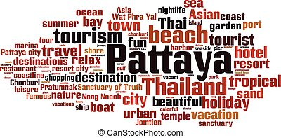 Pattaya word cloud concept. Vector illustration