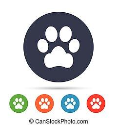 patte, chien, signe, animaux familiers, icon., symbole.