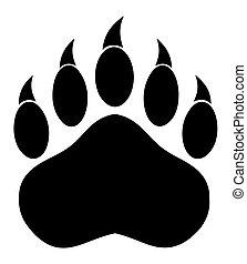 patte, ours, noir