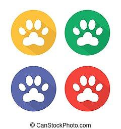patte, set., icônes, chien, long, signe, boutons, cercle, vecteur, 4, animaux familiers, icon., shadow., symbole.